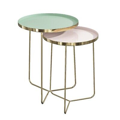 Gold Tray Side Tables with Green & Pink Tops - Kaisa KAS007