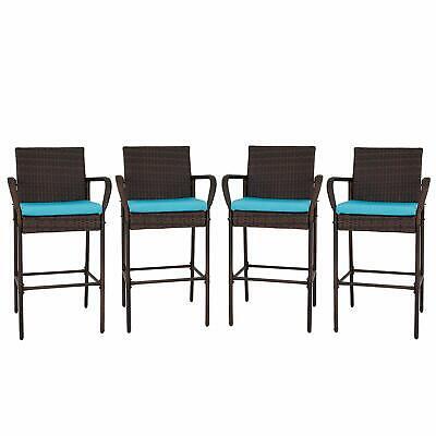 Bar Stool Outdoor Patio - Set of 2/4 Patio Outdoor Wicker Bar stool Backyard Rattan High Chair w/ Cushion