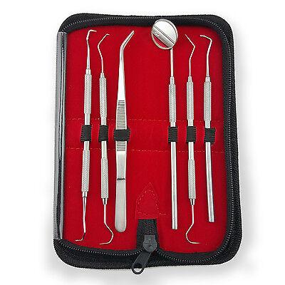 6er Zahnarzt Instrumente Set Mundspiegel Zahnsteinkratzer Scaler Edelstahl