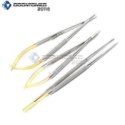 3 Castroviejo Micro Scissors Needle Holder Curved Tc Forceps Dental Eye Set Kit
