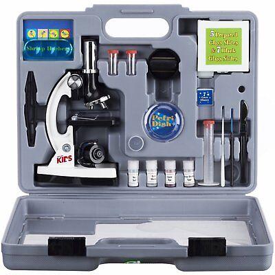 AMSCOPE-KIDS 120X to 1200X Six Power Metal Arm Starter Biological Microscope Kit