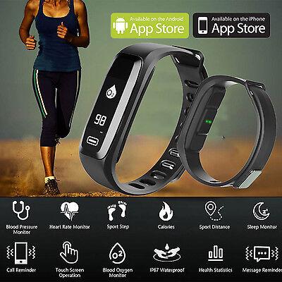 Usa Bluetooth Blood Pressure Oxygen Heart Rate Monitor Smart Band Bracelet Watch