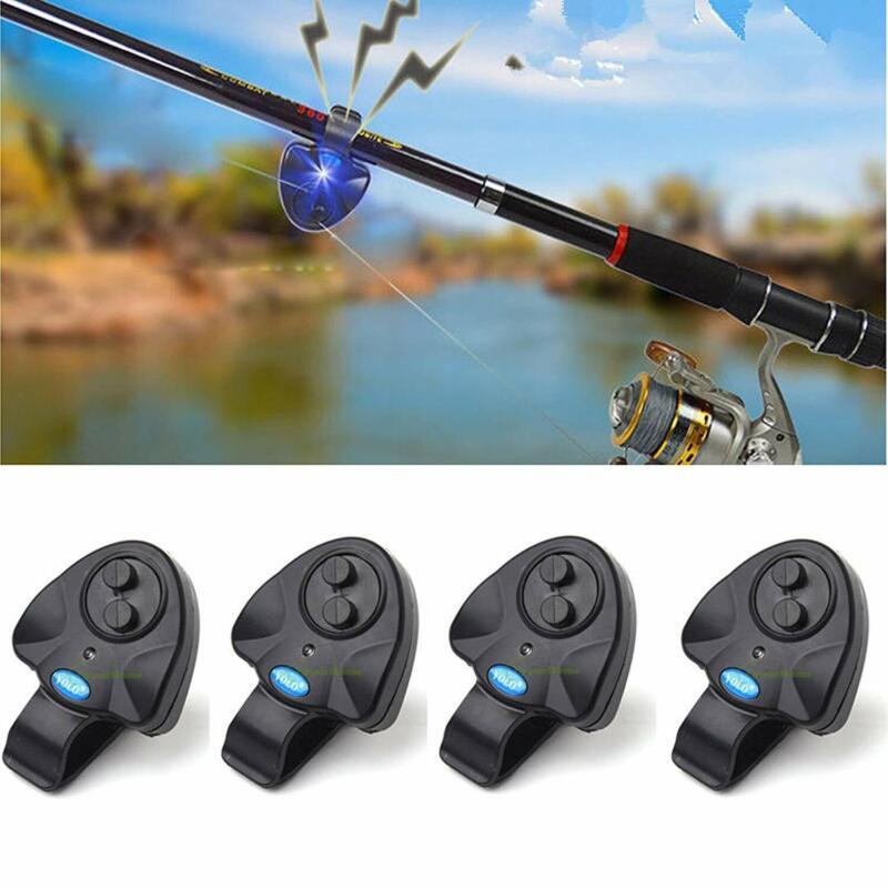 4 Pcs LED Electronic Light Fishing Bite Sound Alarm Alert Bell Clip On Fish Rod