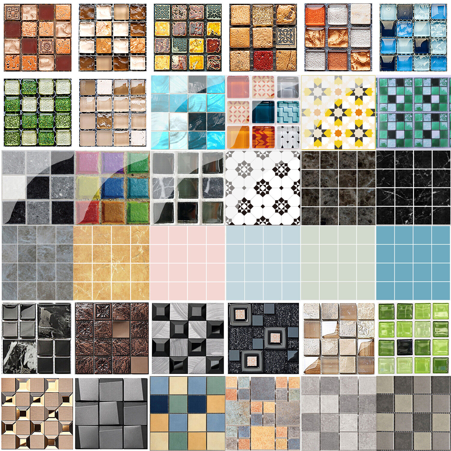 Home Decoration - 3D Kitchen Tile Stickers Bathroom Mosaic Sticker Self-adhesive Wall Decor Home