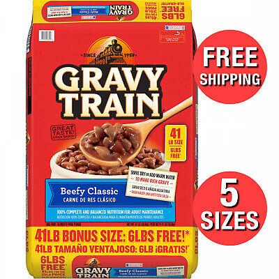 Dog Food Dry Furry Pet Dogs Kibble Beefy Flavor Classic Bonus Bag GravyMix Train