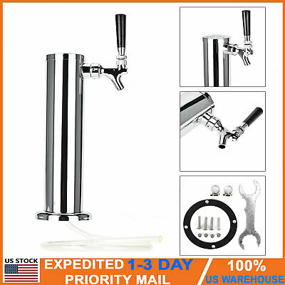 Single Chrome Stainless Steel Tower Beer 1 Tap Single Faucet Draft Keg Kegerator