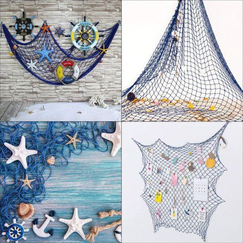 Deko Fischernetz Fischernetz mit Muscheln Maritim Strand Urlaub Meer Weiß/Blau