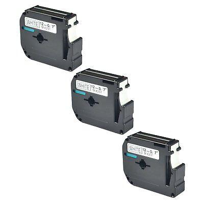 3pk For Brother P-touch Pt-65 Pt-85 Label Tape M-k231 Mk231 Black On White