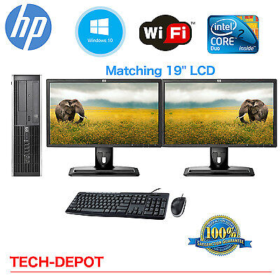 Hp Desktop Pc Computer Core 2 Duo 4Gb Ram Dual 19  Lcd Monitor Wifi Windows 10