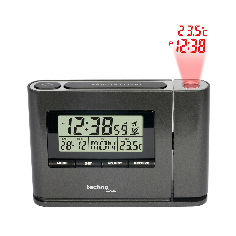 TECHNOLINE Wecker Projektionswecker Projektions Funkuhr Temperatur Datum