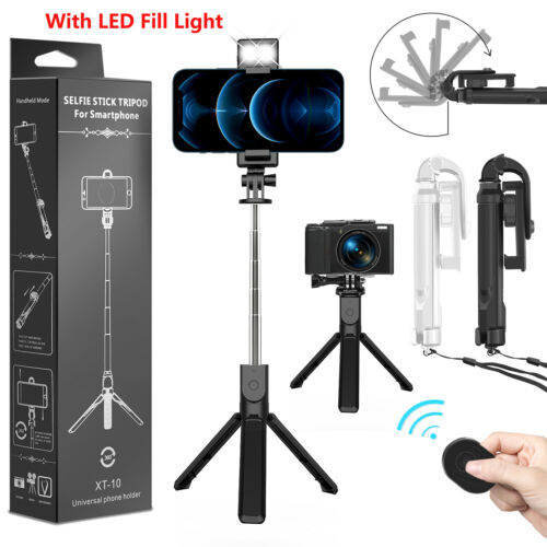 Extendable LED Selfie Stick Tripod Wireless Remote Stand Fr iPhone 12 13 Pro Max