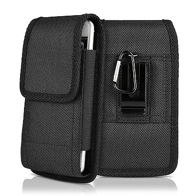 Clip Case Sideways Holster Black Rugged Nylon Cell Phone Case Cover Belt Pouch ()