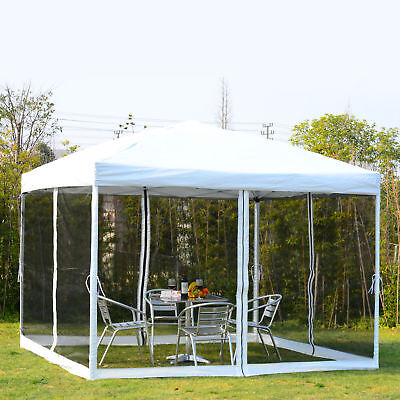 10x10 EZ Pop Up Party Wedding Tent Patio Gazebo Canopy Outdoor Mesh Silver w/Bag
