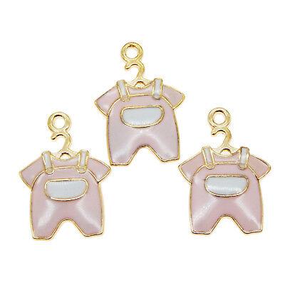 20 Stück Gold Legierung Rosa Emaille Baby Kleidung Gesetzte Charme Schmuck 39230