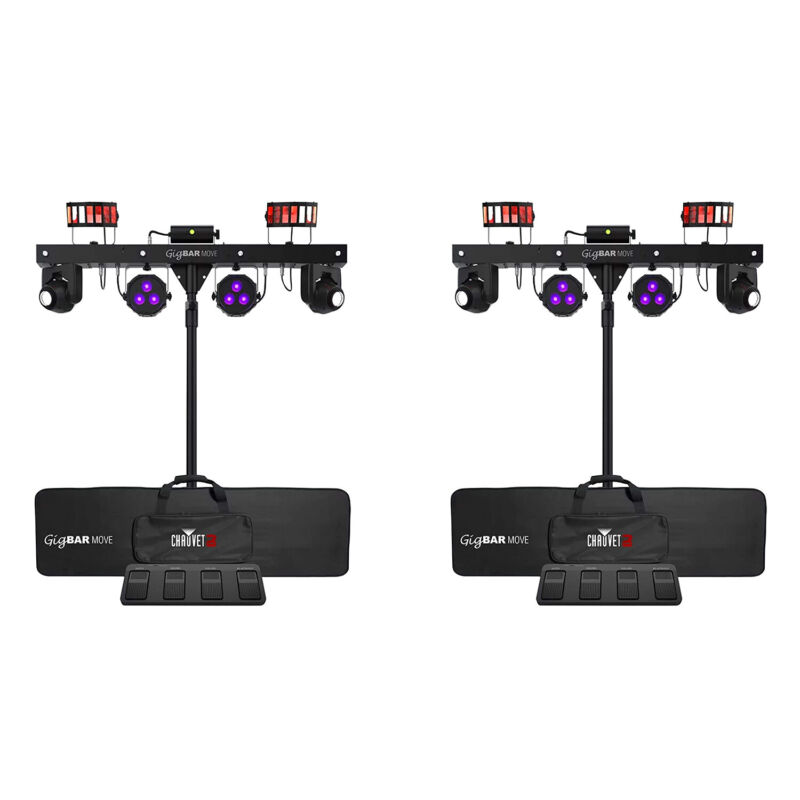 Chauvet DJ Gig Bar Move 5-in-1 LED Lighting System with 2 Moving Heads, Black