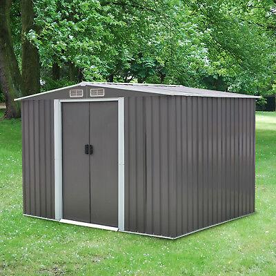 8'x6' Gray Garden Toolshed Storage Shed Backyard Lawn Utility, w/ Sliding Doors