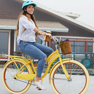 Womens Beach Cruiser Bike 26 Vintage Bicycle Basket Ladies Road Cruising Yellow for sale  Shipping to Canada