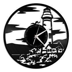 Lighthouse Vinyl Wall Clock Gift for Vintage Office Home Bedroom Decoration