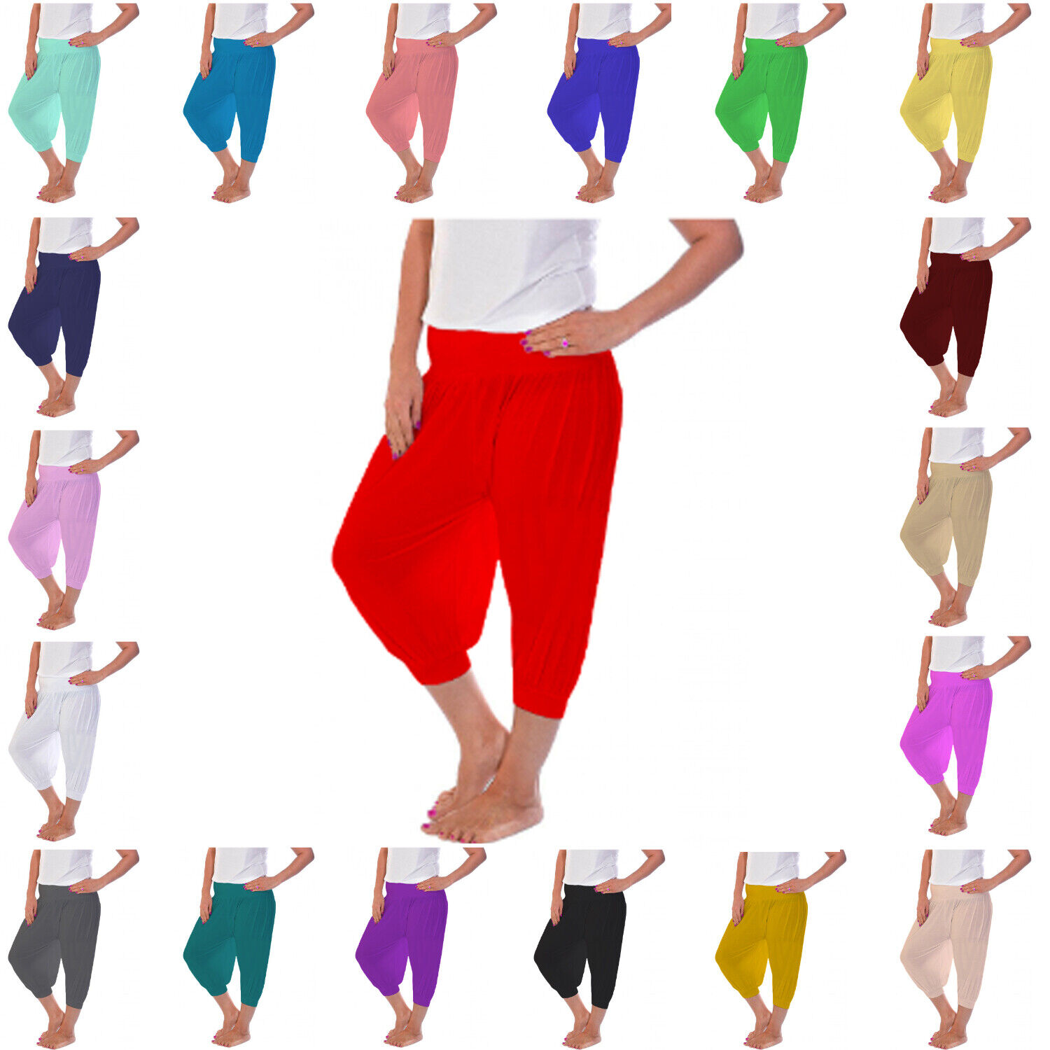 RSVH W34L Womens Ladies 3//4 Ali Baba Harem Baggy Trousers Cropped Short Leggings