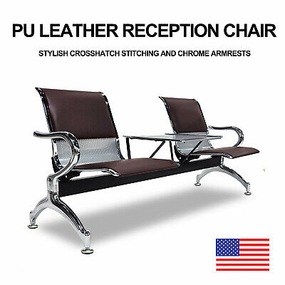 Pu Leather Waiting Room Chair W Table 2-seat Reception Office Guest Chairs