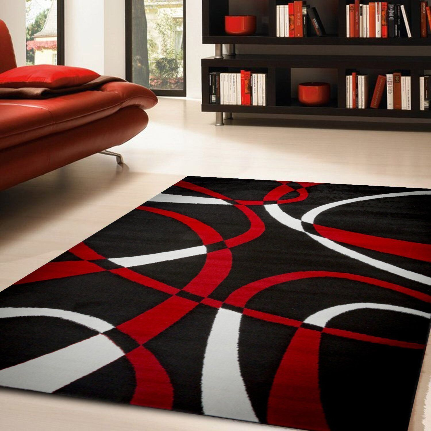 Black Area Rug Modern Carpet Stain Resistant Living Room Home Decor 5 X 7 For Sale Online Ebay