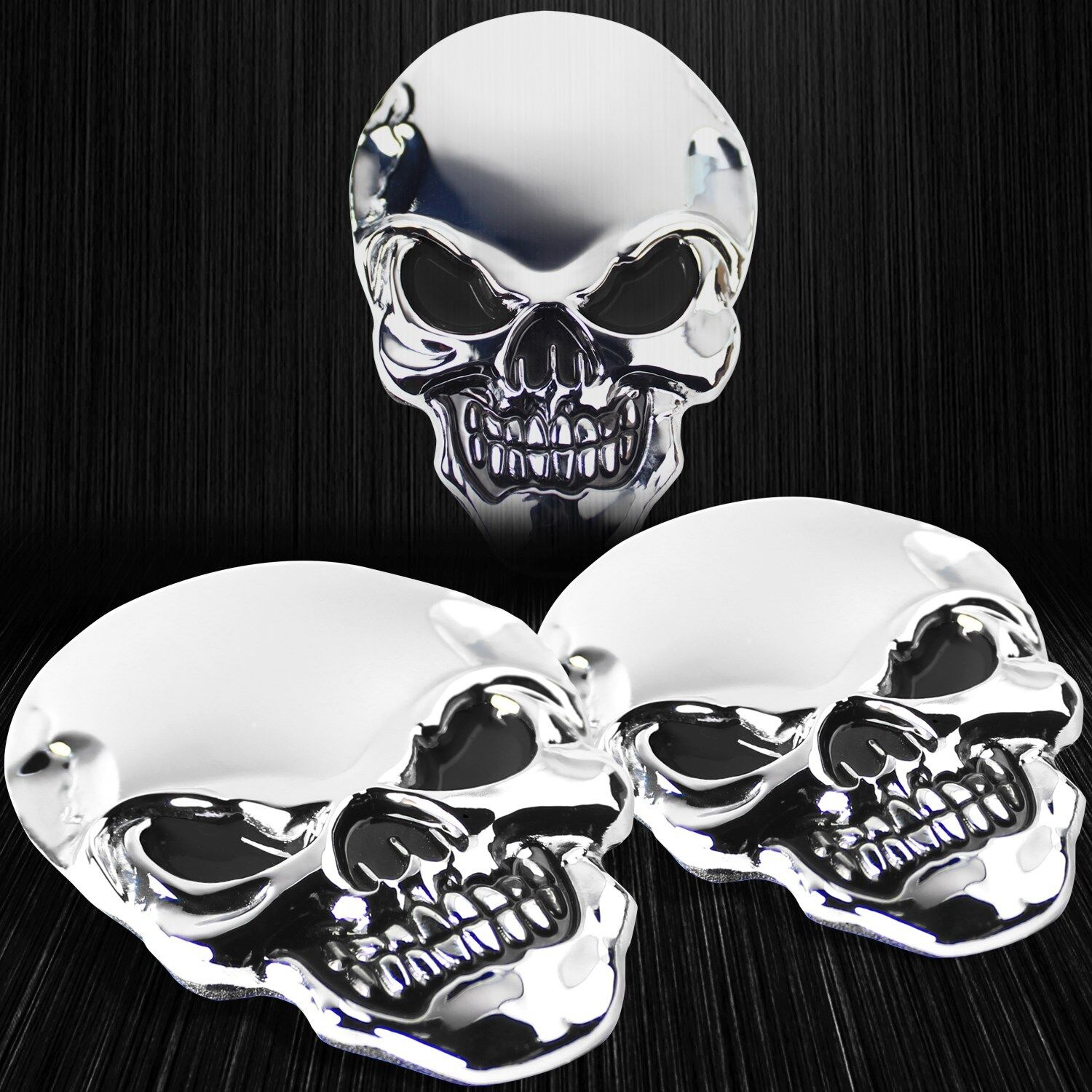 Details about 2x real metal 3d stainless steel ss emblem skull skeleton reaper sticker chrome