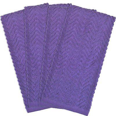4 Piece Purple Dish Towel Set Zig Zag Weave Pattern Cotton Free Shipping New ()