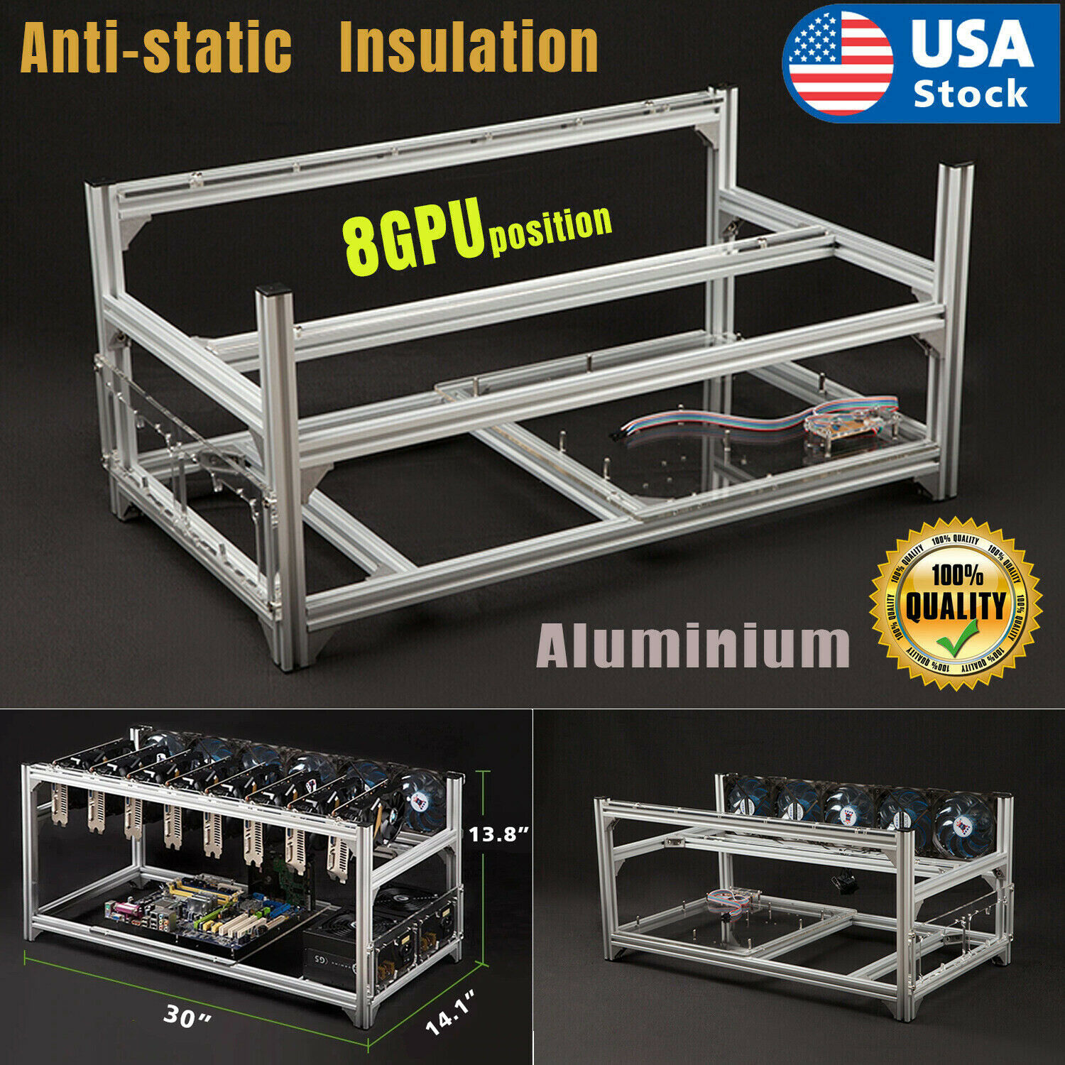 USA Mining Rig Frame Equipment Aluminum Stackable For 8GPU Bitcoin Ethereum Computer Cases