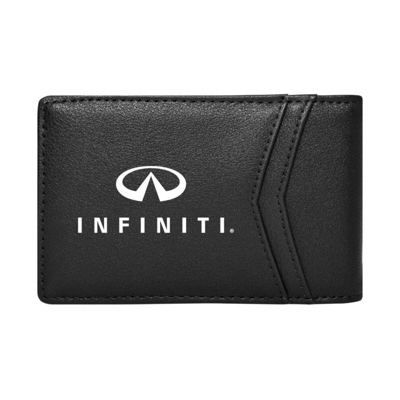 INFINITI Black PU Leather Slim RFID Resistant Bi-fold Men Wallet