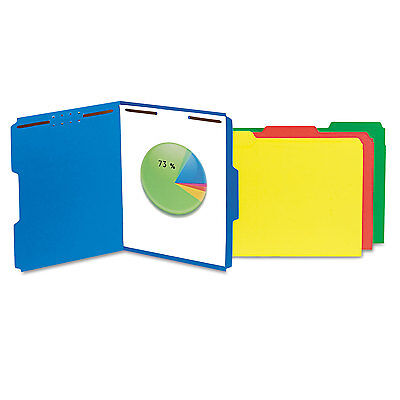 Universal One Manila Folders 2 Fasteners 1/3 Tab Letter Blue 50/BX 13521