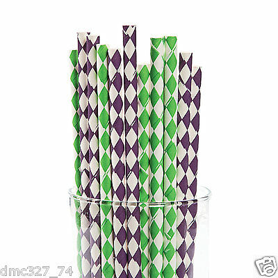24 MARDI GRAS Fat Tuesday Party Supply PAPER Drinking Straws Harlequin Print (Mardi Gras Supply)