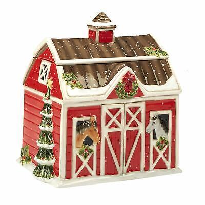 "Horse Barn 3D Ceramic Cookie Jar Christmas on the Farm Susan Winget 10.75"" H"