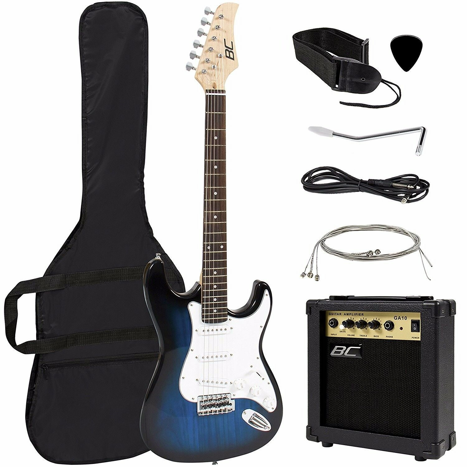 Full Size Blue Electric Guitar with Amp, Case and Accessorie
