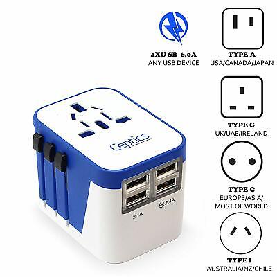 Ceptics All-In-One International Travel Adapter Plug - 4 USB Ports (UP-9KU) All In One Travel Plug