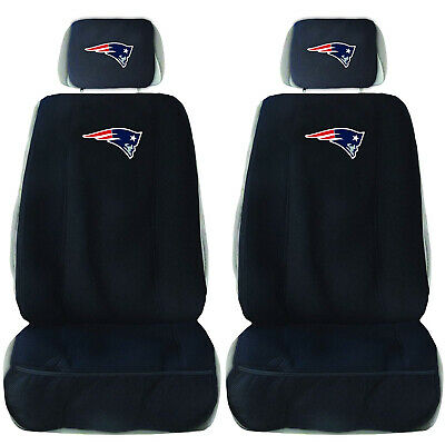 2 New England Patriots Car Truck Front Seat Covers w/ Head Rest Cover Universal