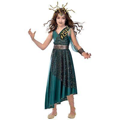 Girls Medusa Costume Child Halloween Greek Roman Myth Snake Kids Fancy Dress