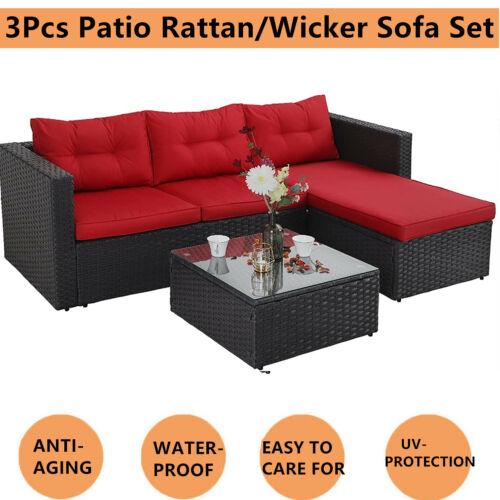 3Pcs Patio Sofa Set Outdoor Sectional Wicker Furniture Conversation Set W/Cushio