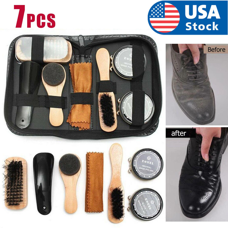 Shoe Cleaning Brushes Tools Kit Polish Boot High Heeled Leather Shine Care Case Clothing & Shoe Care