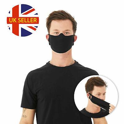 Black Face Masks  Mouth Mask Reusable Washable Adjustable To Size UK Seller @