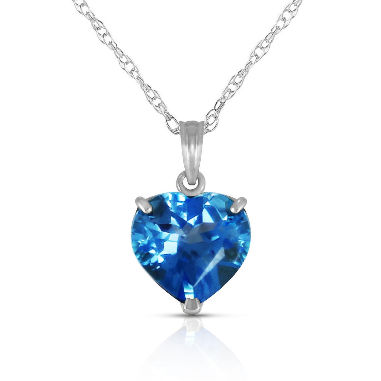 d331673e0351 Colgante solitario con una joya en forma de corazón con topacio azul  genuino de 10 mm en oro macizo de 14Q