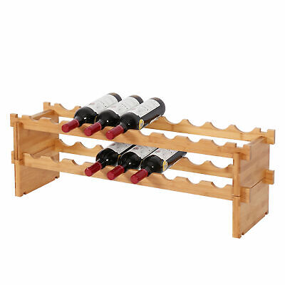 2 Tier 18 Bottle Wine Rack Storage Containers Bamboo Holder Easy Assembly Bar  2 Bottle Wine Holder