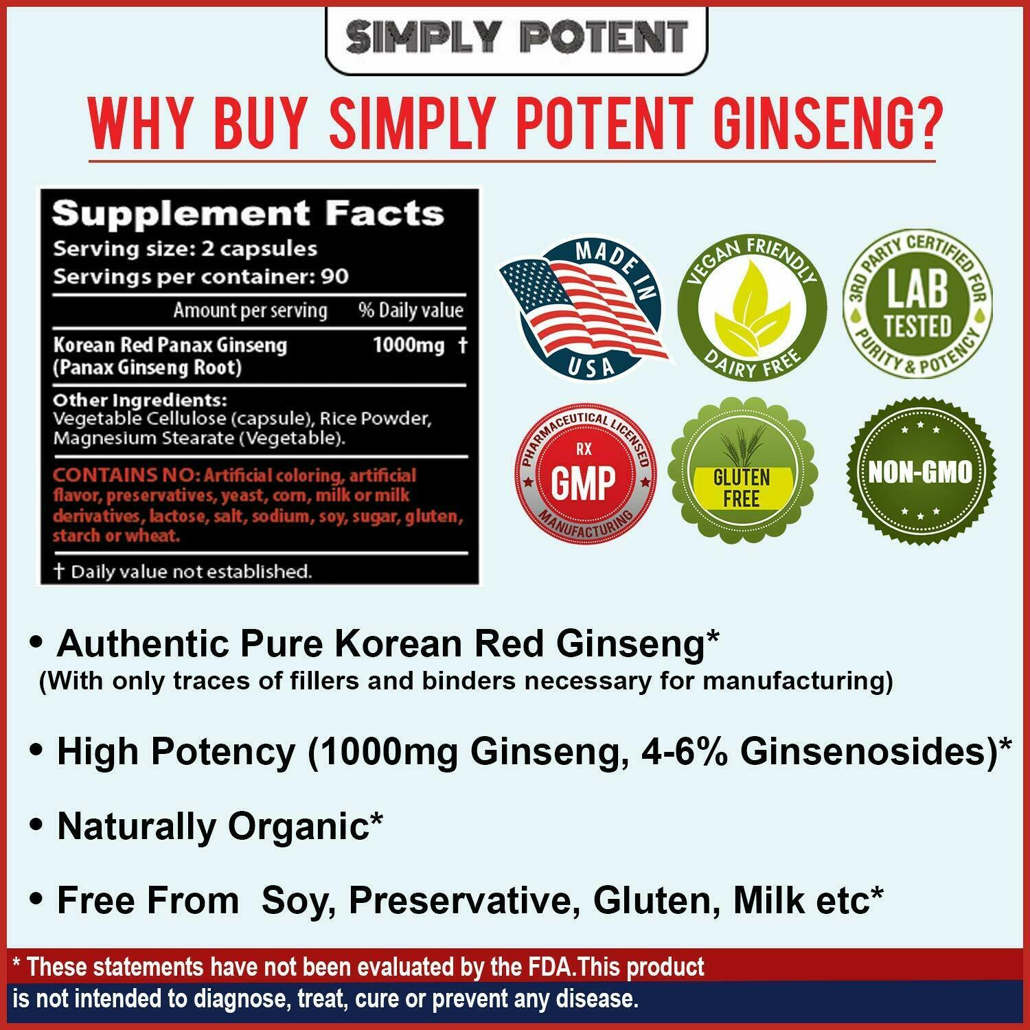Korean Ginseng Red Panax Ginseng 1000 mg Huge 3 Month Supply for Energy & Libido 3