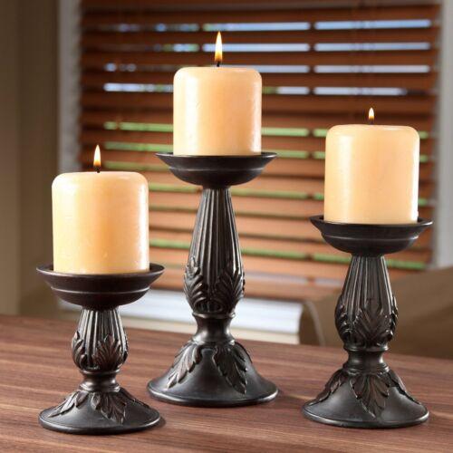Hosleys Unique Design Set of 3 Resin Pillar Candle Holder Ca