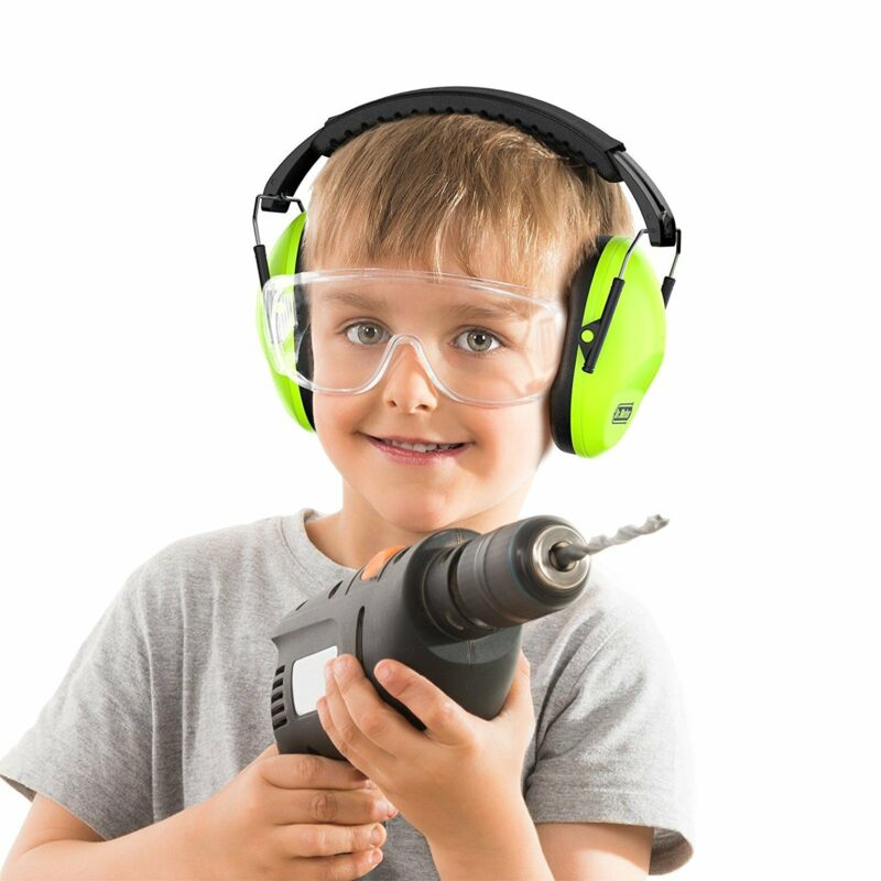 Adjustable Green Kids Safety Ear Muffs Ear Protection 26dB/SNR Noise Canceling