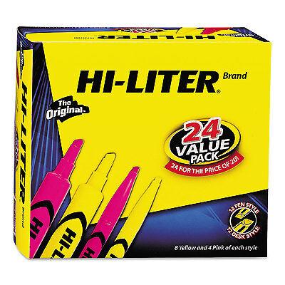 Avery HI-LITER Desk/Pen-Style Combo Highlighter Chisel/Bullet Assorted Colors 24