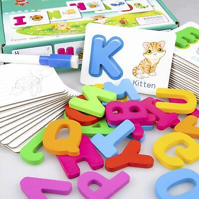 Toddler Alphabet Wooden Jigsaw Puzzle Flash Cards | Dry Erase ABC Activity Cards