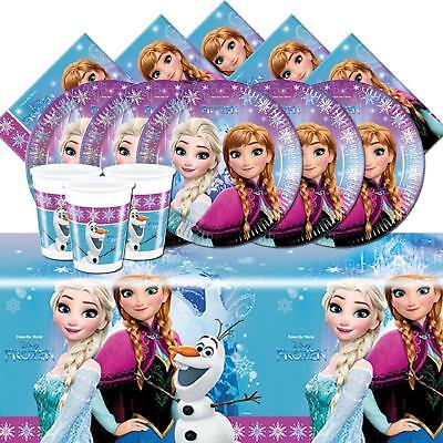 FROZEN PARTY PACK FOR 8 GUESTS 1 TABLE COVER 8 CUPS 8 PLATES 20 NAPKINS DISNEY