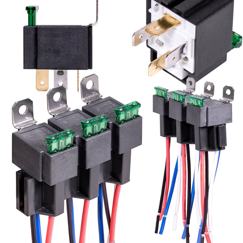 6Pack 12V 30A Fuse Relay Switch Harness Set SPST 4Pin 14 AWG Wires USA