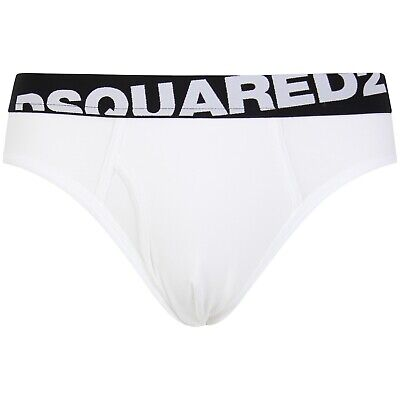 DSquared2 underwear Angled Logo Low-Rise Men's Brief, White/black, S