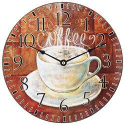 404-2631C La Crosse Clock Company 12 Round Wood Coffee Analog Wall Clock
